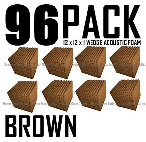 96-Pc-BROWN-Acoustic-Wedge-recording-Studio-Soundproofing-Foam-Wall-Tile-12x12x1