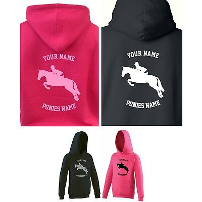 PERSONALISED KIDS / CHILD'S HOODY, SHOW JUMPER DESIGN, 1-13 years HORSE / PONY
