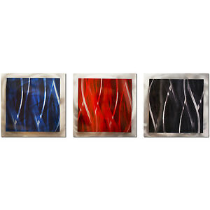 Image Is Loading Dark Colors Wall Art Modern Metal Artwork Red