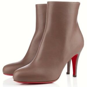 premium selection a5f70 a1c18 Details about Christian Louboutin Taupe Belle 100 Leather Ankle Boots 41 /  UK 8