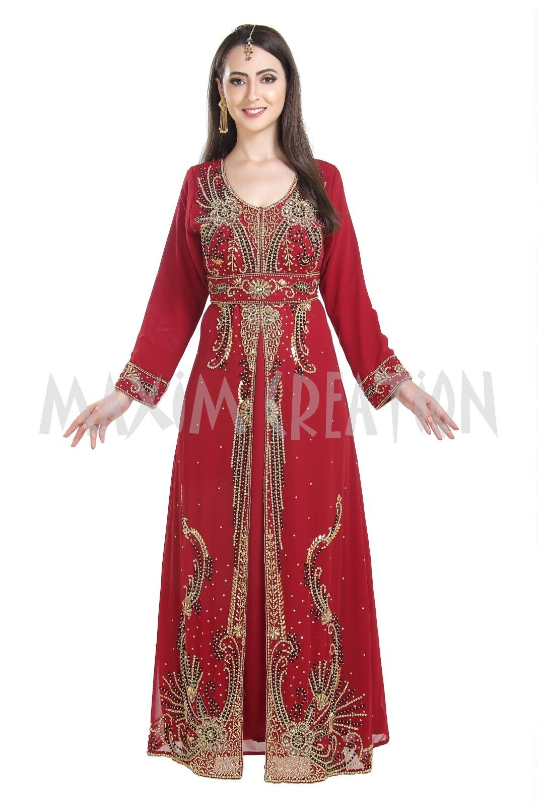 Princess Style Unique Hand Embroidered Western Gown Party Wear Caftan 7197