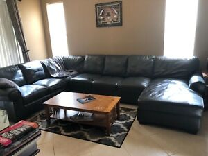 Used Leather Sectional Sofa, Ashley Furniture Charcoal Gray | EBay