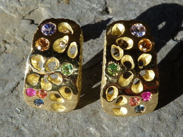 On demand, gold earrings 18 ct, sapphire, ruby, tanzanite