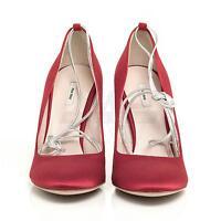 Miu Miu 5p6049 Red Almond Toe Silk Pump 6 36 $510