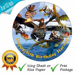 How to train your dragon cake topper personalised edible birthday image is loading how to train your dragon cake topper personalised ccuart Choice Image
