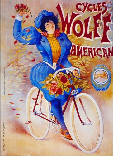 Cycles Wolff American Bicycle Paris France French Advertisement Art Poster Print