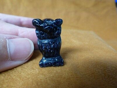 """Y-BIR-OW-504 1/"""" BLACK ONYX gem OWL bird gemstone carving baby OWLS night birds"""