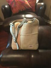 EUC UGG Bag Shopper Tote Sheepskin Shearling Sand Blue