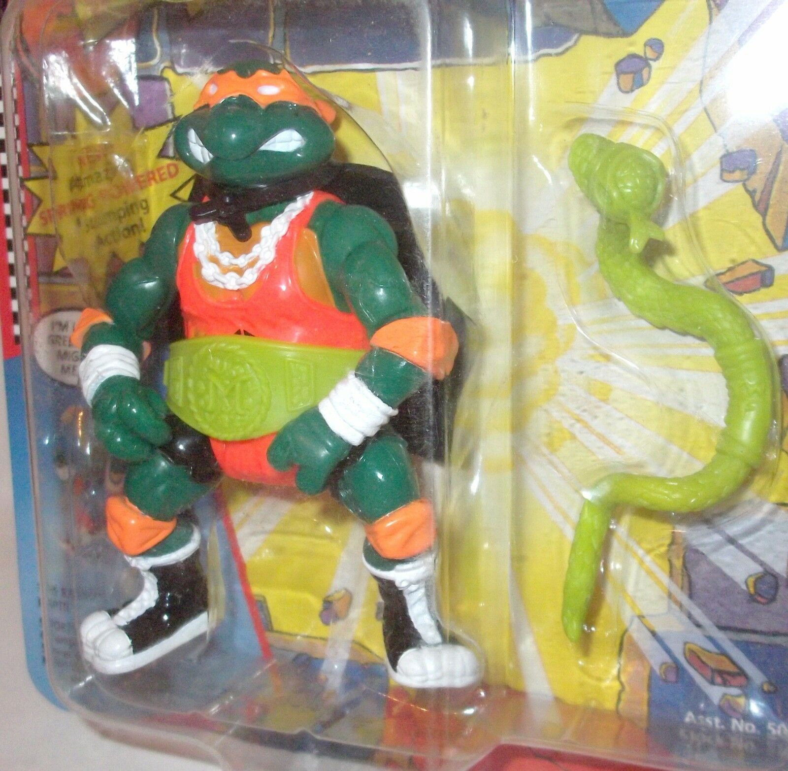 TMNT SHELL SLAMMIN' MIKE '91 MOC Ninja Turtles figure Rare Orange TIGHTS BELT ON