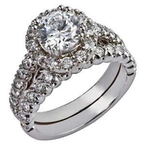 1.70 Ct Round Moissanite Band Set 14K Solid White Gold Anniversary Ring Size 5