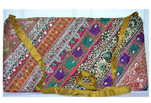 Olive Color Hand Embroidered Borders Shoulder Cross Body Bag Silk From India