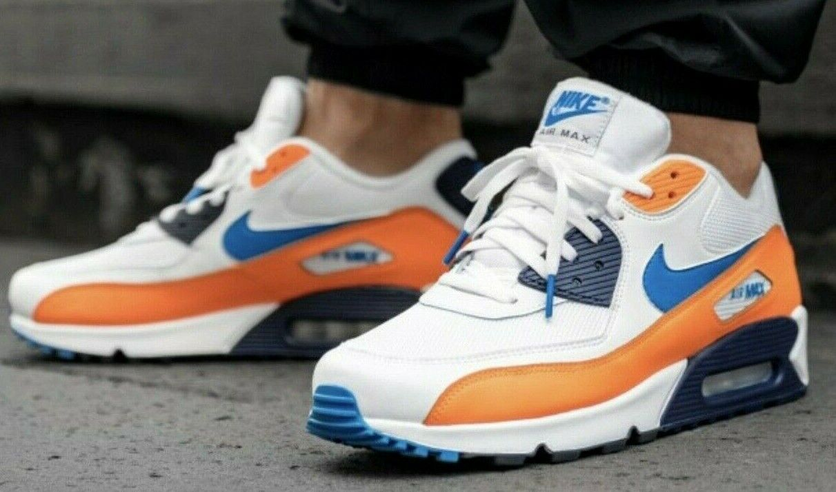 Nike Air Max 90 Essential White Blue Orange AJ1285 104 Running Shoes Men's NEW
