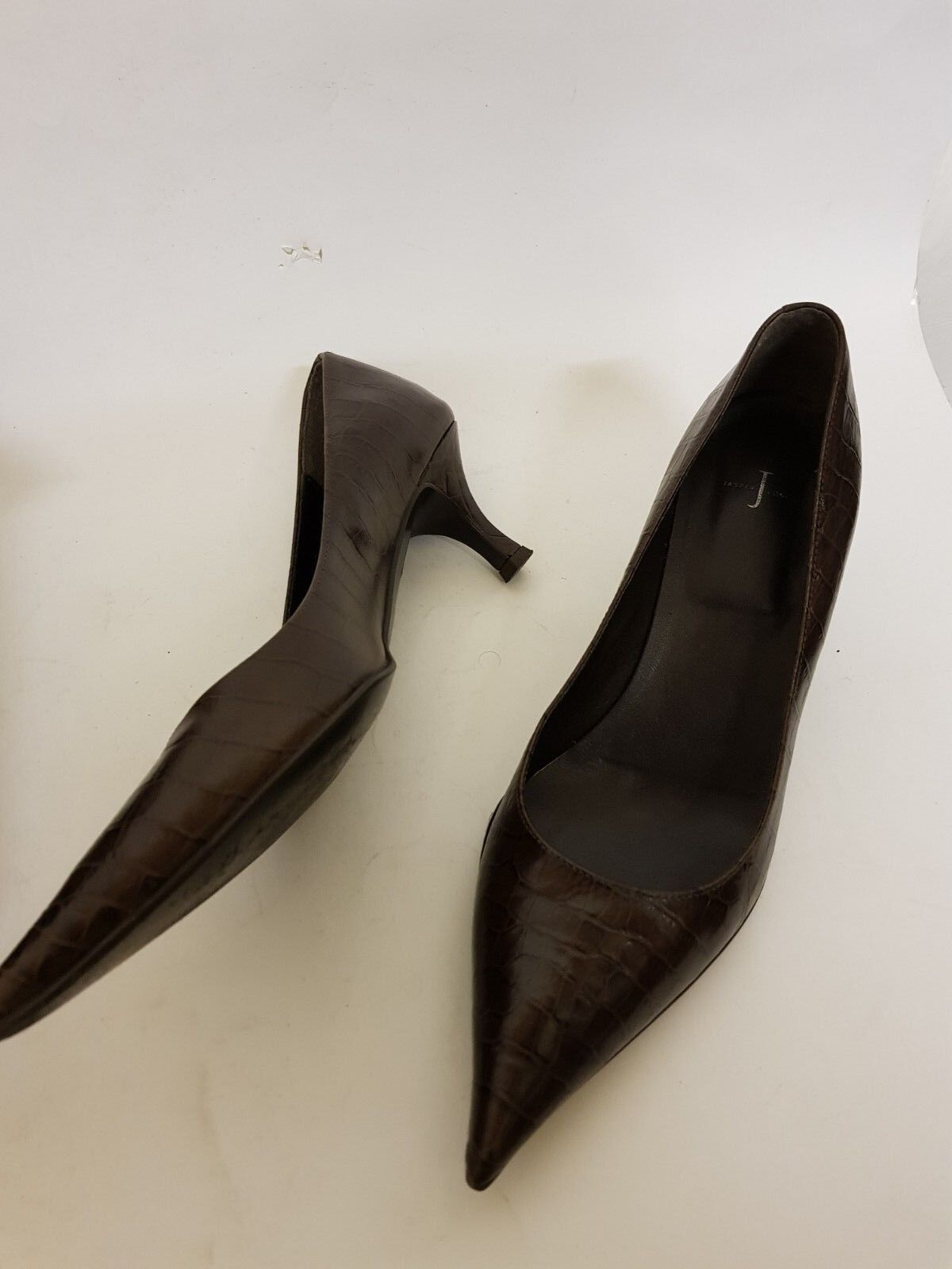 BOXED JASPER CONRAN BROWN LEATHER  KITTEN HEEL SHOES UK 6