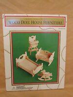 Vintage Wood Doll House Furniture Kit Wooden Child's Bedroom Set 1997 Dayton