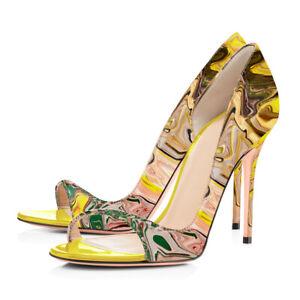 9312145bc Onlymaker Women s Peep Toe PU High Heel Sandals Fashion Spring ...