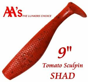 "🐟  AA's Giant Bad Bubba 9"" Tomato Shad Soft Durable & ""Beefy"" Swimbait #212"