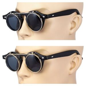 2-Pair-Cool-Flip-Up-Lens-Steampunk-Vintage-Retro-Round-Sunglasses-Gold-Silver-US