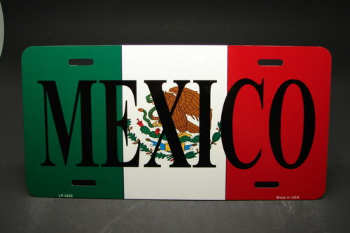 MEXICO FLAG METAL ALUMINUM CAR LICENSE PLATE TAG   Bandera mexicana PLACA