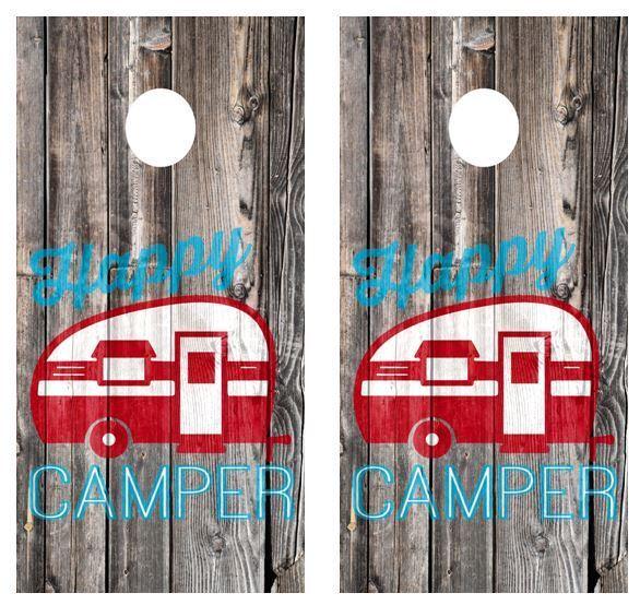 Happy Camper Barnwood Cornhole Board Wraps  FREE LAMINATE