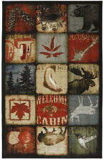 5x8 Lodge Cabin Moose Deer Buck Bear Buffalo Bison Rustic Area Rug