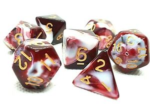 RPG-Wuerfel-Set-7-teilig-Poly-dice4friends-w4-w20-zweifarbig-Tabletop-DND-DSA