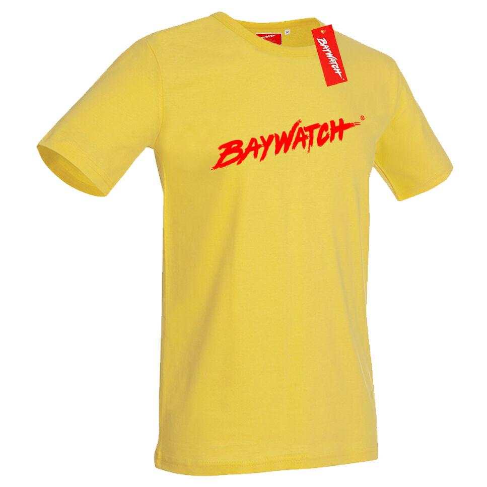 LICENSED BAYWATCH ® WHITE MENS COTTON T-SHIRT LIFEGUARD FANCY DRESS TOP
