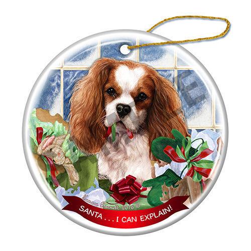 Cavalier King Charles Howliday Porcelain China Dog Christmas Ornament H2