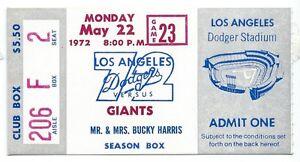 Dave-Kingman-2-homers-5-RBI-ticket-stub-Giants-at-Dodgers-5-22-1972