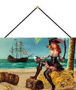 Pirates-Pin-up-Girl-Tin-Sign-Shield-with-Cord-Tin-Sign-7-7-8x11-13-16in-FA0237-K