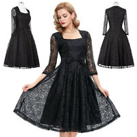 NEW BLACK Retro Vintage Swing Pinup Housewife 50's Evening Lace Dress