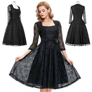 Women's Ladies Vintage Style Retro Evening Party Swing Pinup Prom Dresses S-XL