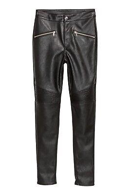 H/&M SKINNY BIKER LEDERHOSE KUNSTLEDER FAUX LEATHER TROUSERS LEGGINGS size 36 42