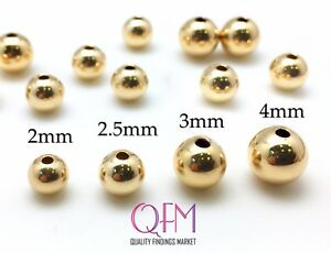 100 pcs 14K Gold Filled  3mm Seamless Beads for Crafts