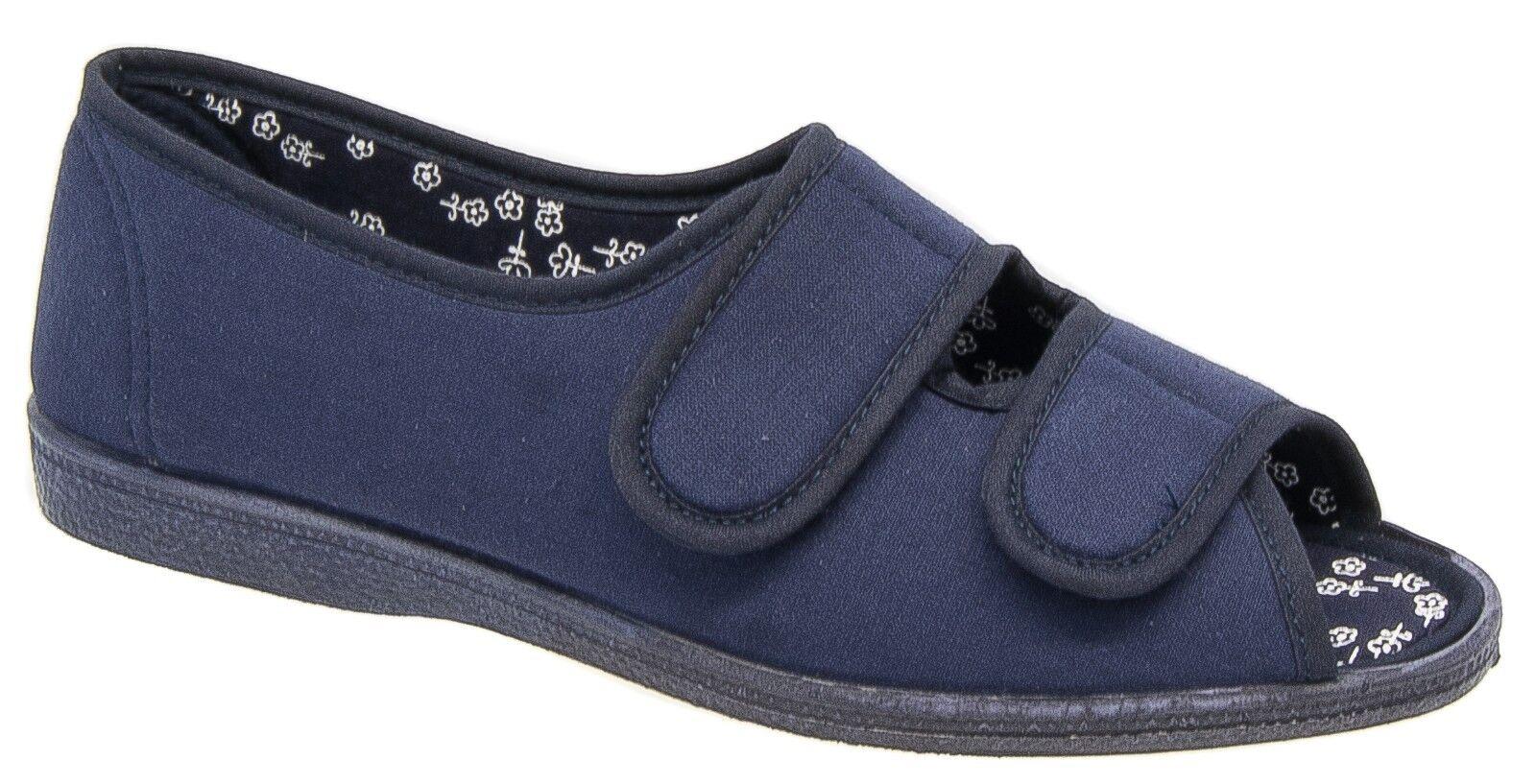 Womens Ladies Wide EE Slippers / Navy Blue Washable Sleepers 3 4 5 6 7 8 9