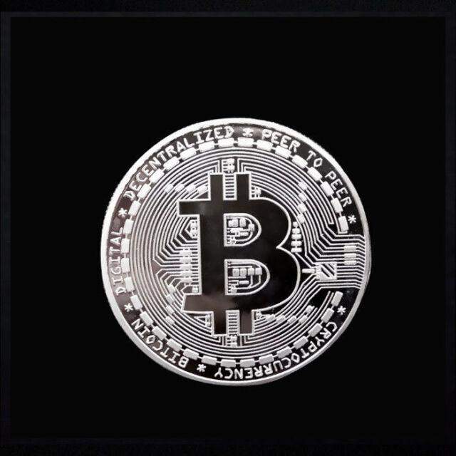 Bitcoin Commemorative Round Collectors BTC  Physical Coin (Sivler) E1