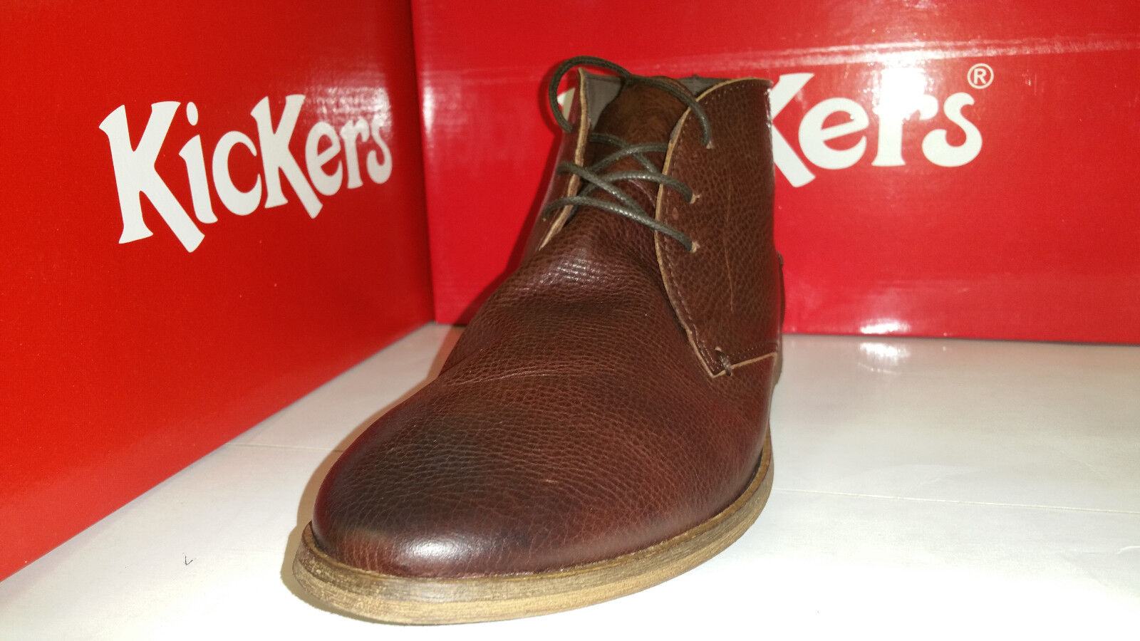 Kickers River 2 Laced Laced Laced Ankel Stivali Brown Pelle Uomo Shoes size US 7.5-12 725614