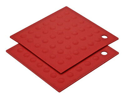 MIU FRANCE 2-Piece High Heat Resistant Silicone Pot Holder / Trivet Set - RED
