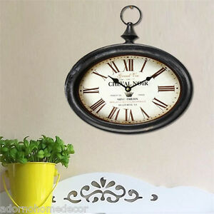 Small Oval Metal Wall Clock Vintage Antique Chic French