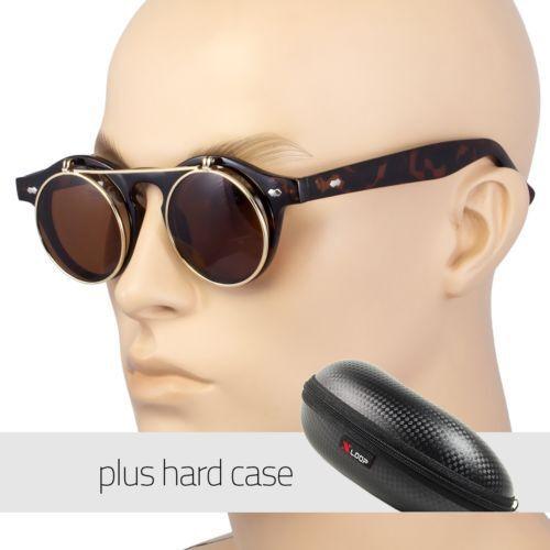 Cool Flip Up Lens Steampunk Vintage Retro Round Sunglasses Tortoise Free Case Us
