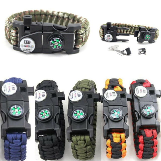 Outdoor Paracord Bracelet LED SOS Flint Fire Starter Compass Whistle Camping New