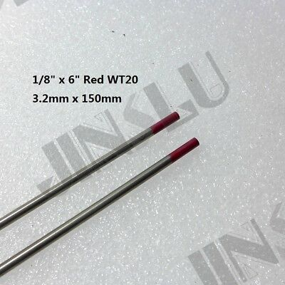 "2PK Red Tip 2% Thoriated TIG Tungsten Electrode WT20 3.2mm X 150mm 1/8"" X 6"""