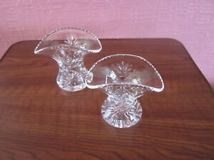 Pair-Vintage-English-Full-Lead-Crystal-Hand-Cut-Glass-Fluted-Small-Vases