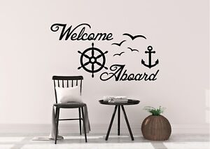 Welcome-Aboard-Boat-Anchor-Inspired-Seaside-Design-Wall-Art-Decal-Vinyl-Sticker