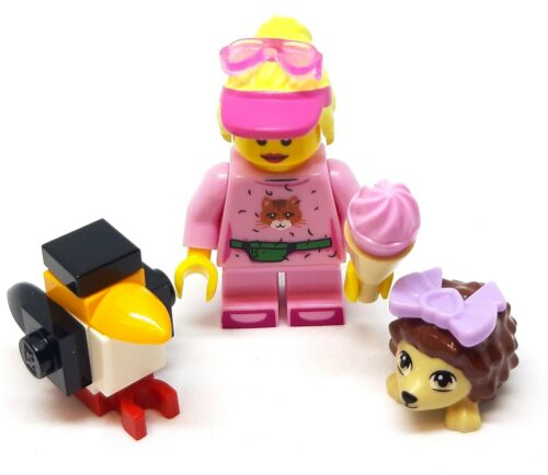 LEGO Minifigura MINI ragazza donna in rosa con gelato Pinguino /& Riccio NUOVO