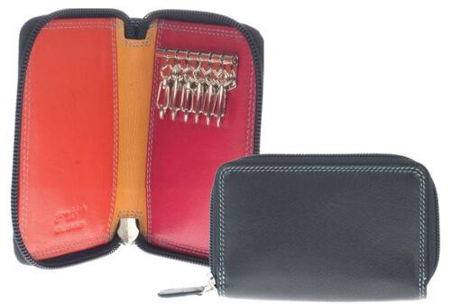 Black Multicolour Leather Zip Around Key Holder Case Holds 6 Keys 172
