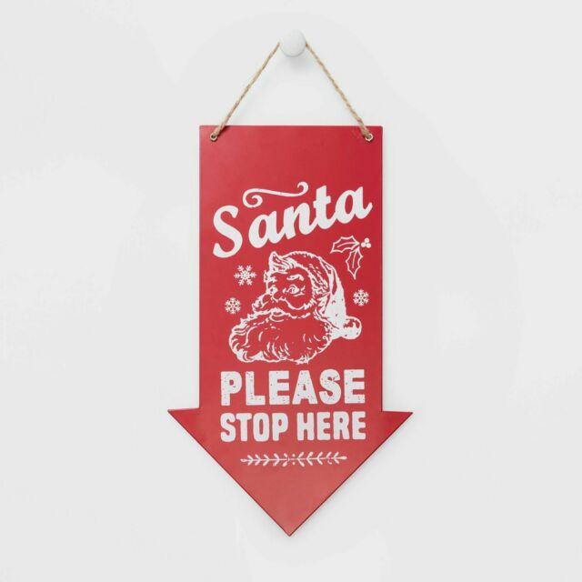 Santa Please Stop Here Solar Light Garden Stake Christmas Sign Decor