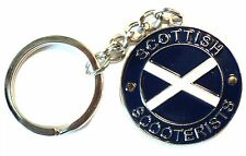 Scottish Scooterist Metal Enamel Keyring MOD Scooter Rider Scotland Saltire