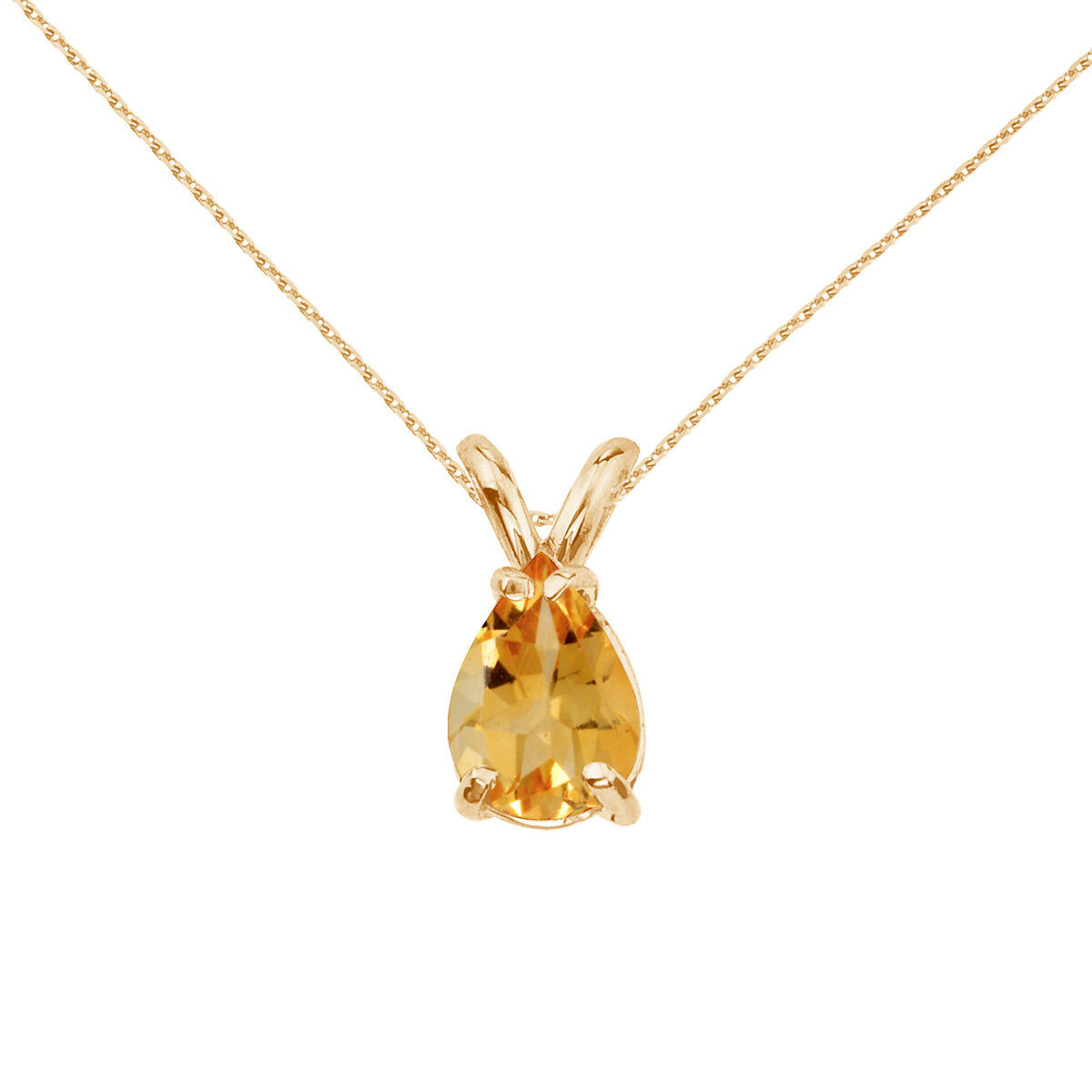 14k Yellow gold Pear Shaped Citrine Pendant with 18  Chain