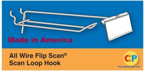 10 PACK 4 Inch Looped Flip Scan Metal Peg Hooks for Pegboard Label Holder Incl