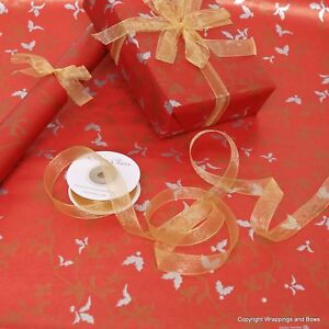 Image Is Loading Christmas Red Holly Patterned Kraft Brown Wring
